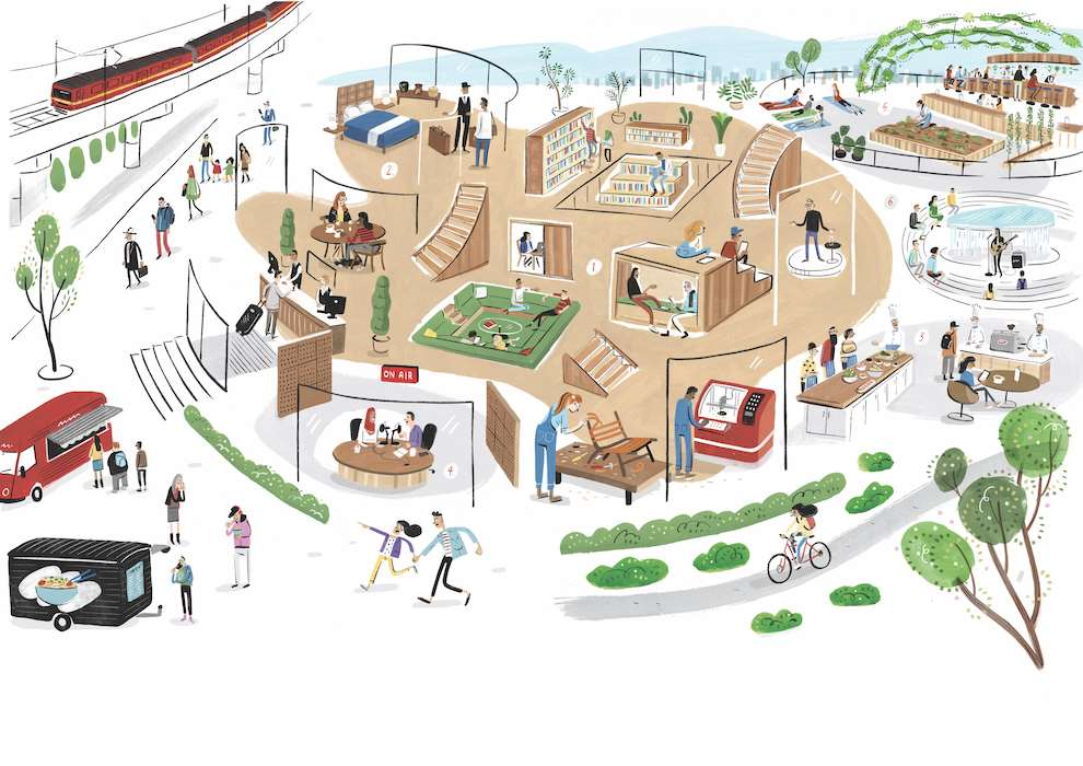 Stephen Collins, Handpainted illustration of an intricate scene of a shopping mall
