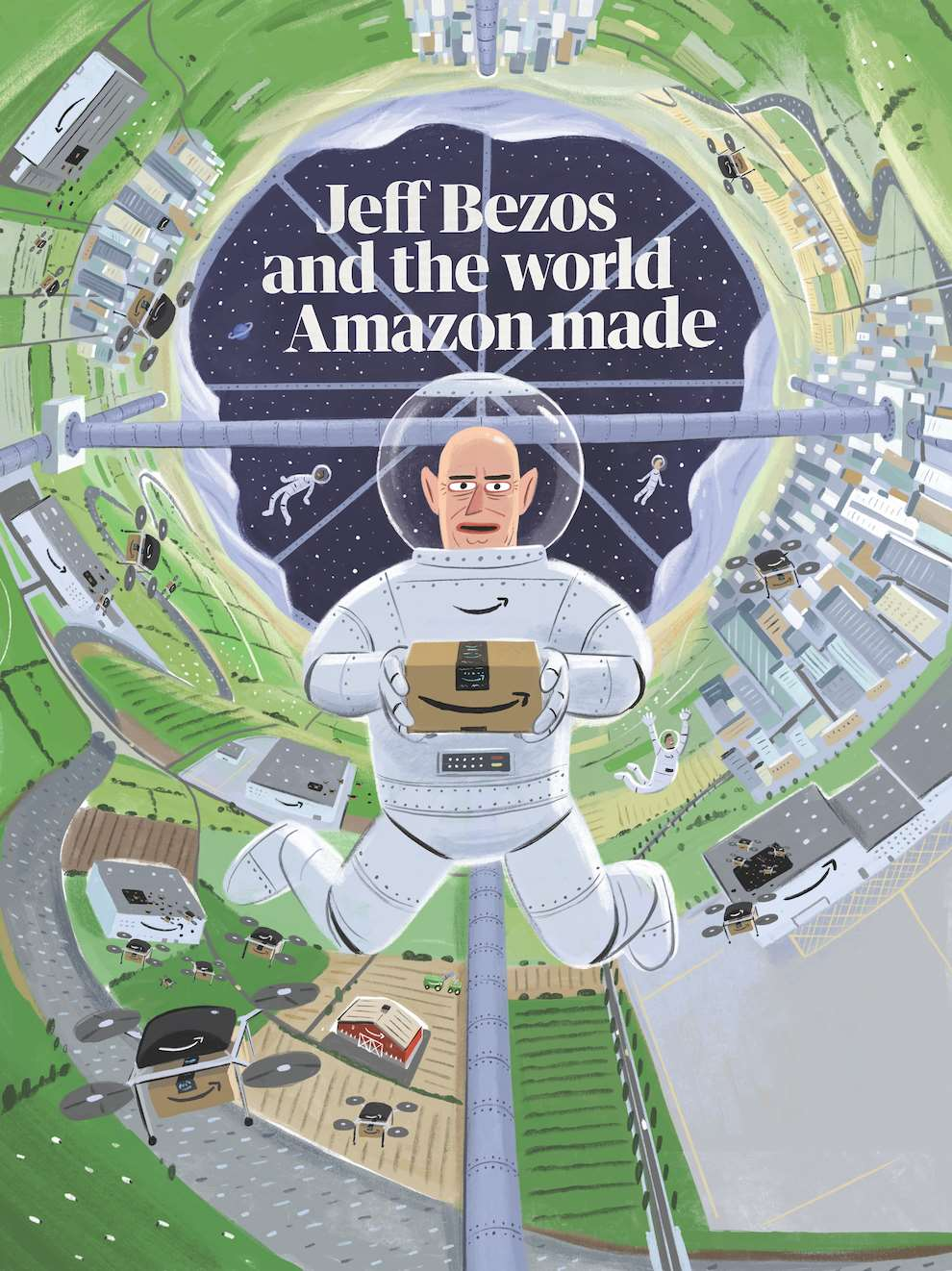 Stephen Collins, Painterly humoristic illustration of Jeff Bezos wearing a space suit and holding an amazon package