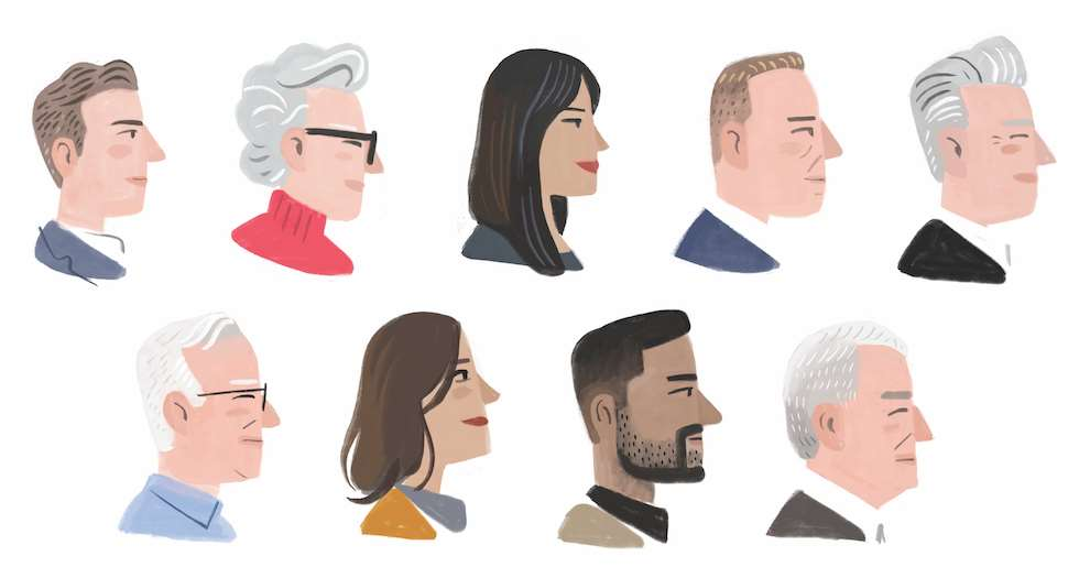 Stephen Collins, Painterly profile portrait and various men and women