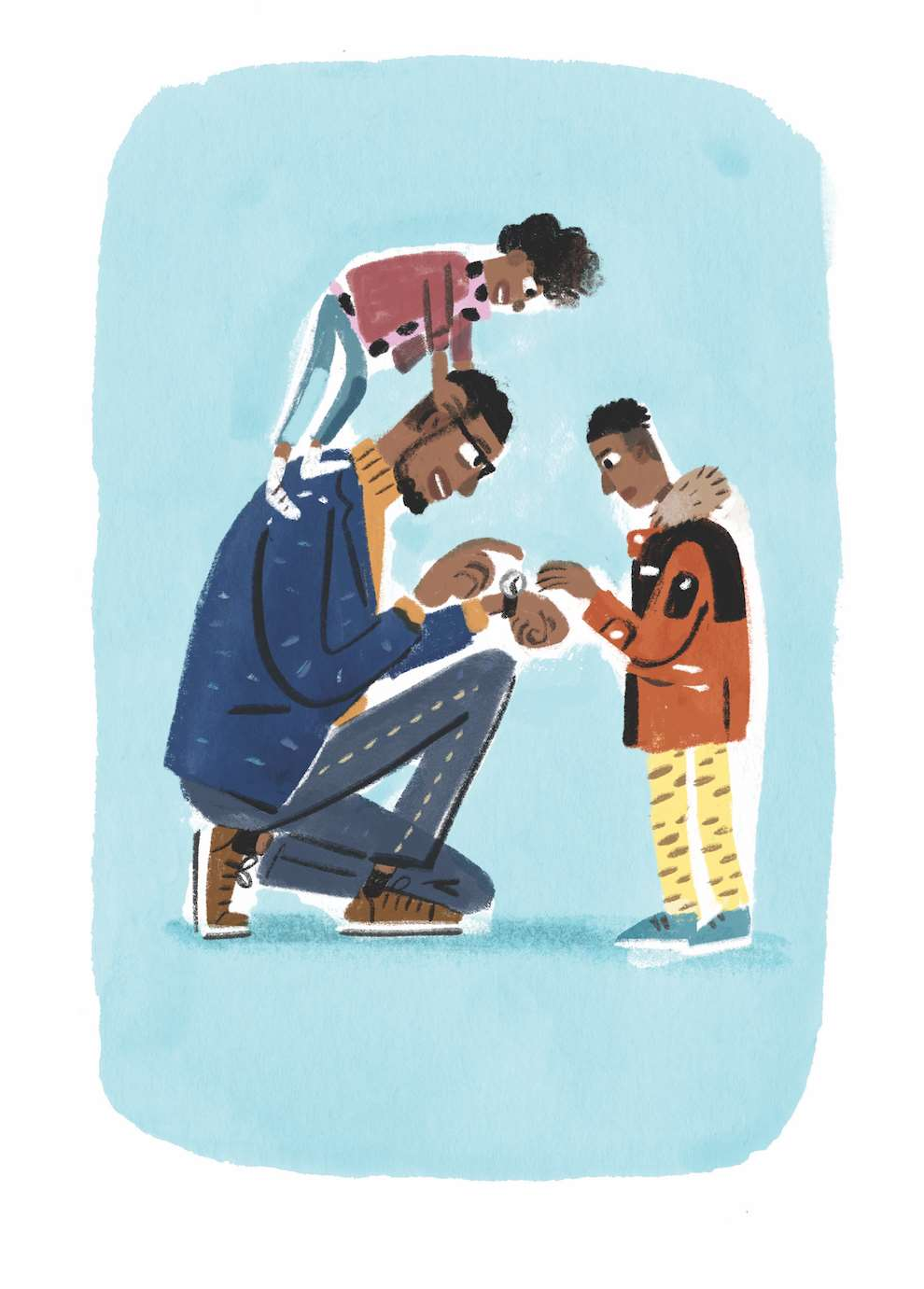 Stephen Collins, Painterly illustration of a dad and kids