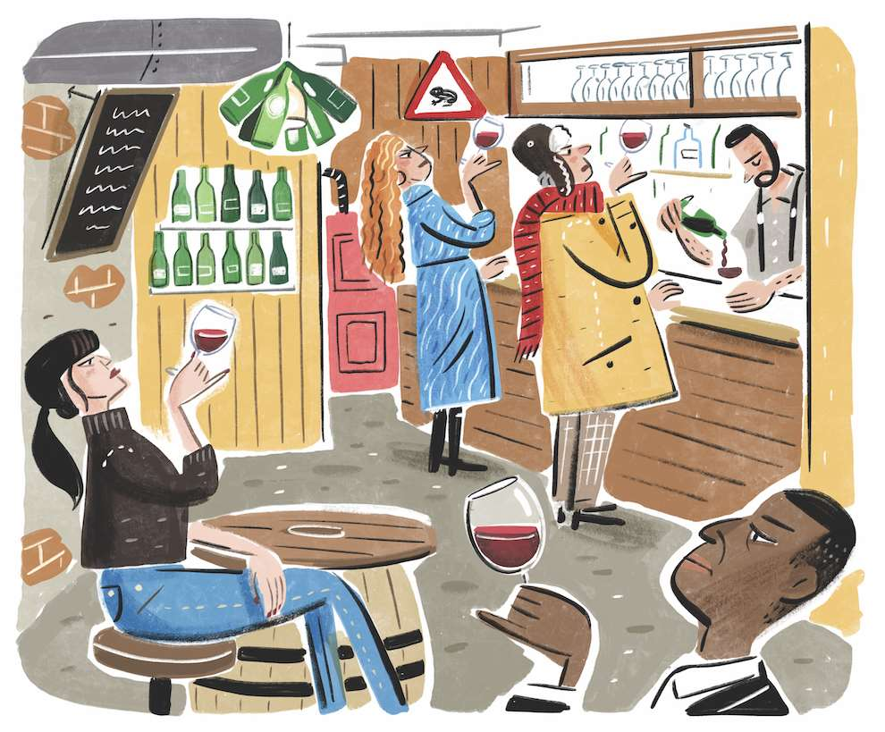 Stephen Collins, humoristic painterly illustration of snob wine connoisseur in a bar