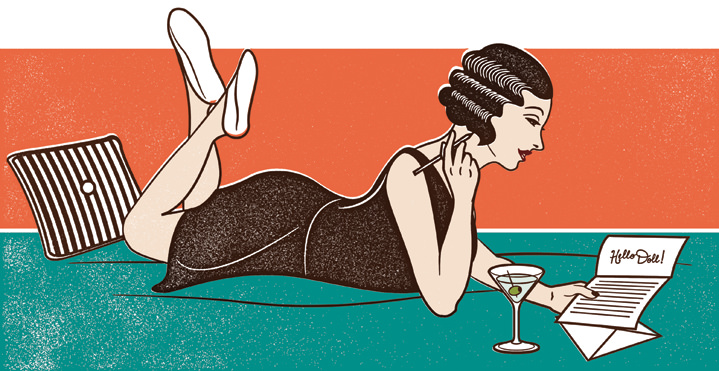 Susan Burghart, linocut render pinup women writing a letter and drinking a cosmopolitan