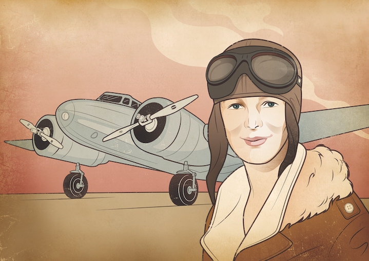 Susan Burghart, Digital retro portrait illustration of Amelia Earhart with a plant in the background