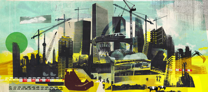 Tim Marrs, Urban collage illustration of a cityscape using black and white photo collage and painterly elements