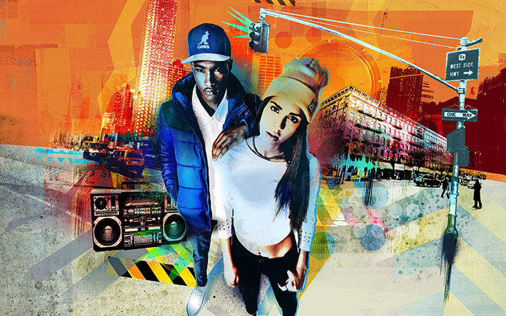 Tim Marrs, Grafitty inspired photocollage illustration of two people with a street background and textural layers