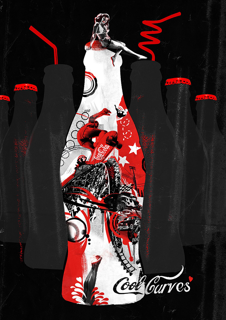 Tim Marrs, Dynamic digital photo montage for coca cola campaign. Bold bottle shape with layers of street elements