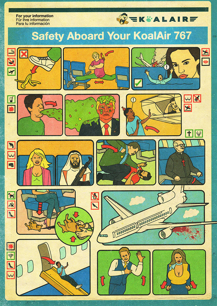 Tobatron, inflight instructional safety diagram illustrations with a tongue in cheek humorous concept.