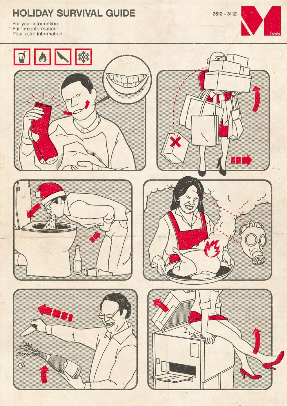 Tobatron, Holiday survival guide witty infographic illustration