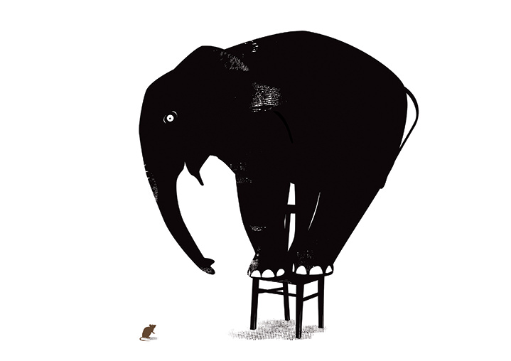 Ulla Puggaard, ulla puggaard black and white humorous illustration of an elephant on a stool hiding from a mouse.