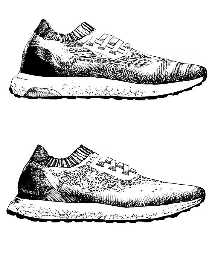 Ulla Puggaard, Line art illustration of nike shooes