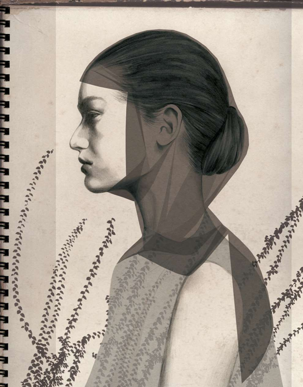 Montse Bernal, Pencil portrait of a lady side profile. Detailed cross hatching and textural marks.