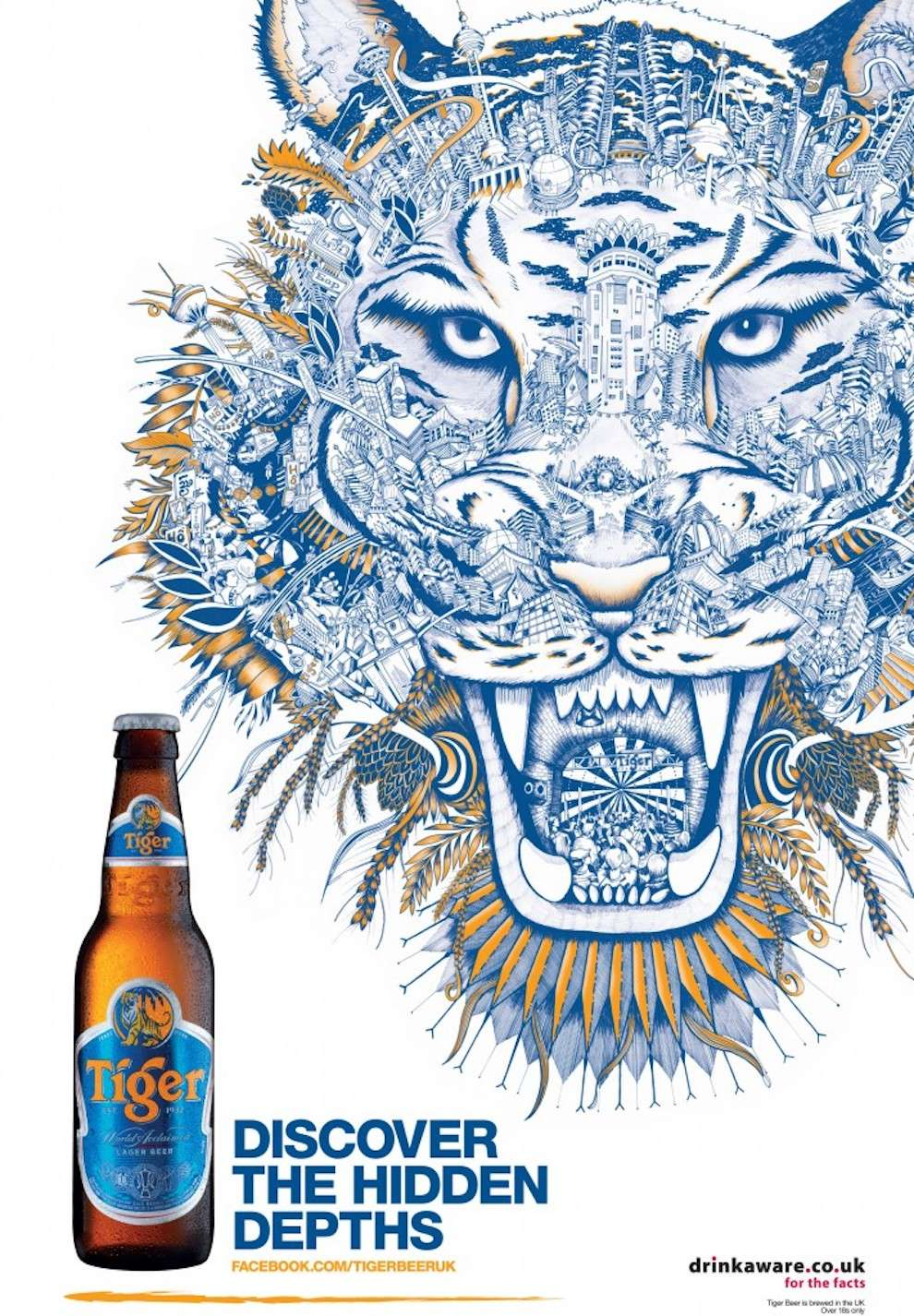 Good Wives and Warriors, Decorative pencil illustration of a tiger's head created by detailed city elements for a beer advertising