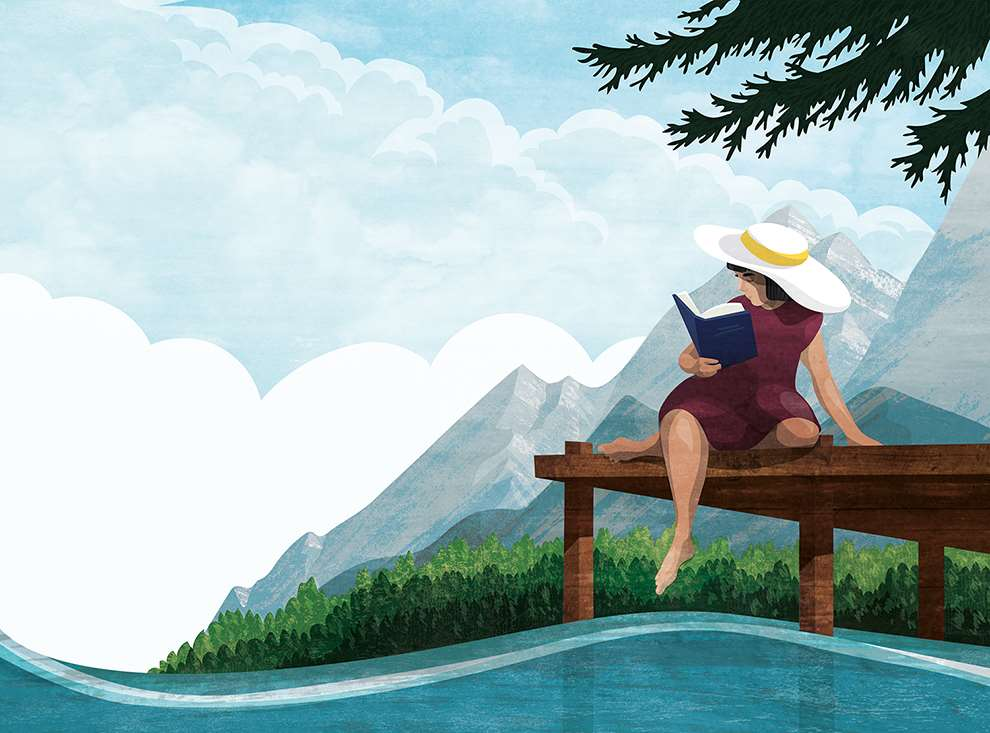 Kerry Hyndman, Digital illustration of a woman reading a book pontoon with a hat on