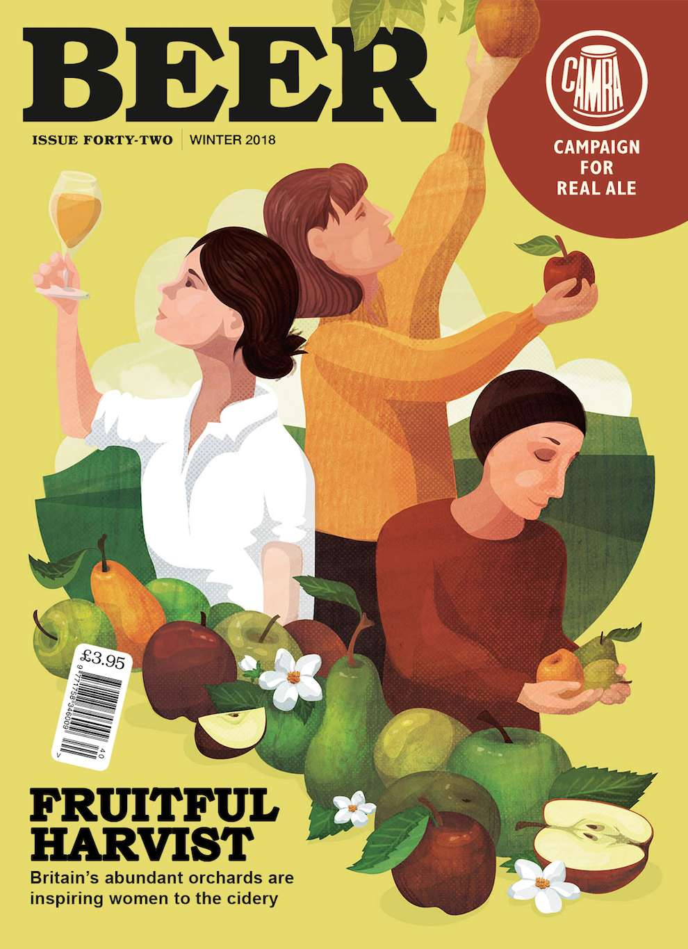 Kerry Hyndman, Digital illustration of a woman picking up fruits for the front cover for beer magazine