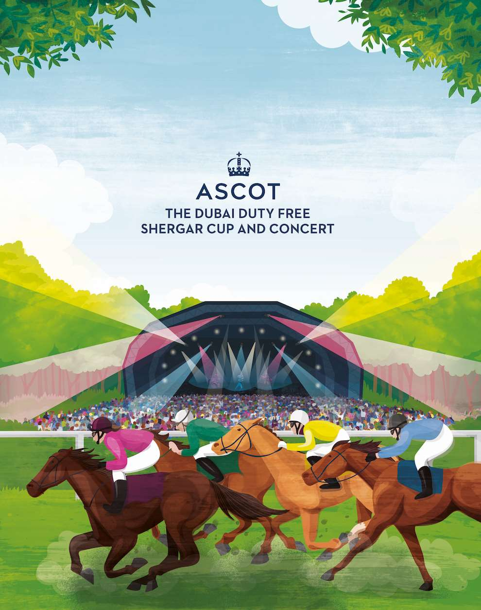 Kerry Hyndman, Digital illustration for Royal Ascot of horses racing