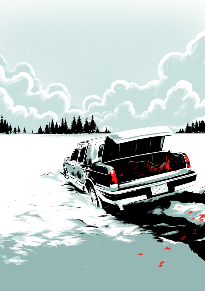 Matt Taylor, Matt taylor, digital vector illustration of Fargo scene. Suspenseful, mysterious car with dead horse and blood.