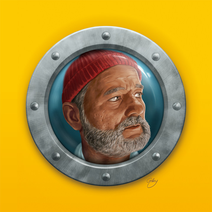 Sam  Gilbey, Digital and painterly portrait of bill murray in the aquatic life of steve zissou