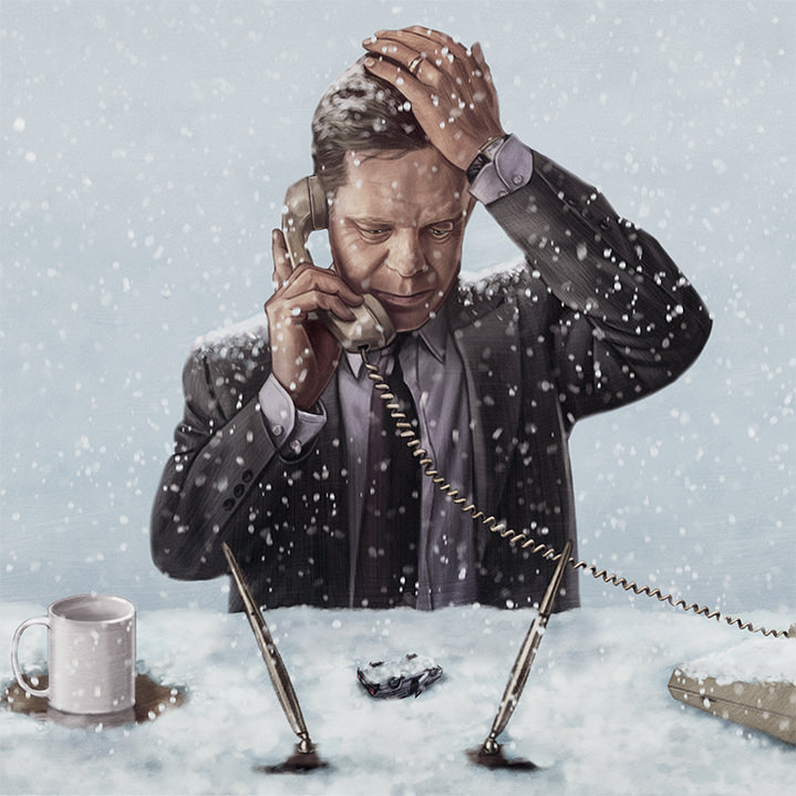Sam  Gilbey, Painterly digital film poster of a man at his desk during a snow storm