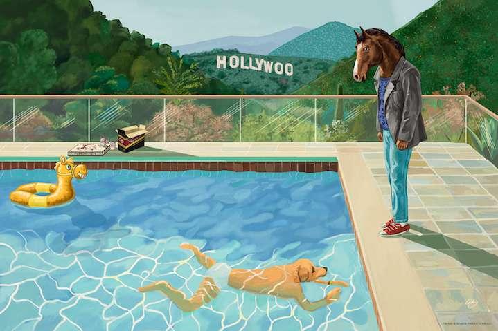 Sam  Gilbey, animal at pool like david hockney