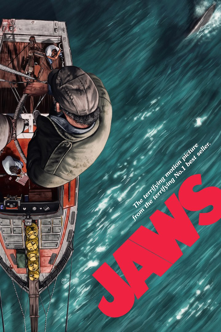 Sam  Gilbey, Painterly digital film poster of Jaws. Sky view of a man in a boat and a shark coming after him