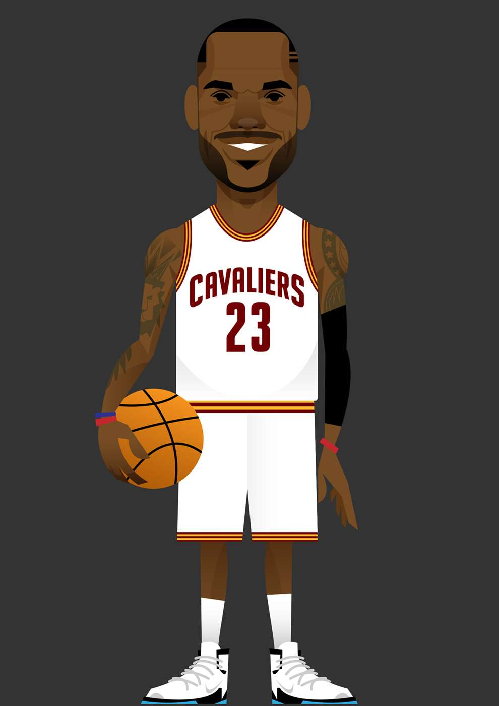 Stanley Chow, Bold and graphic digital portrait illustration of a basketball player