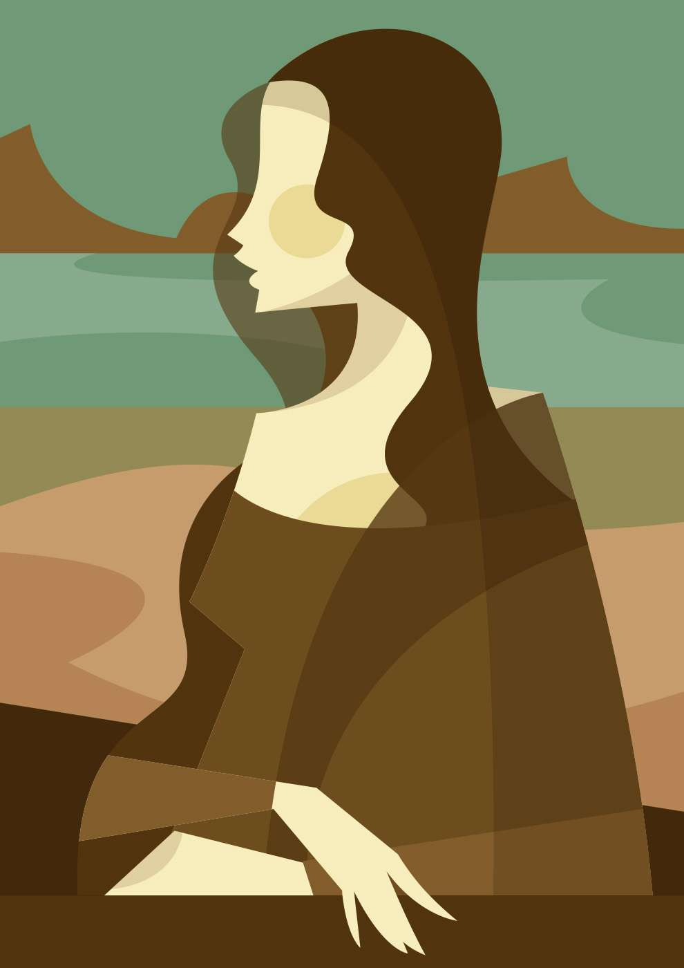 Stanley Chow, Minimalist and abstract bold shape portrait of Mona Lisa