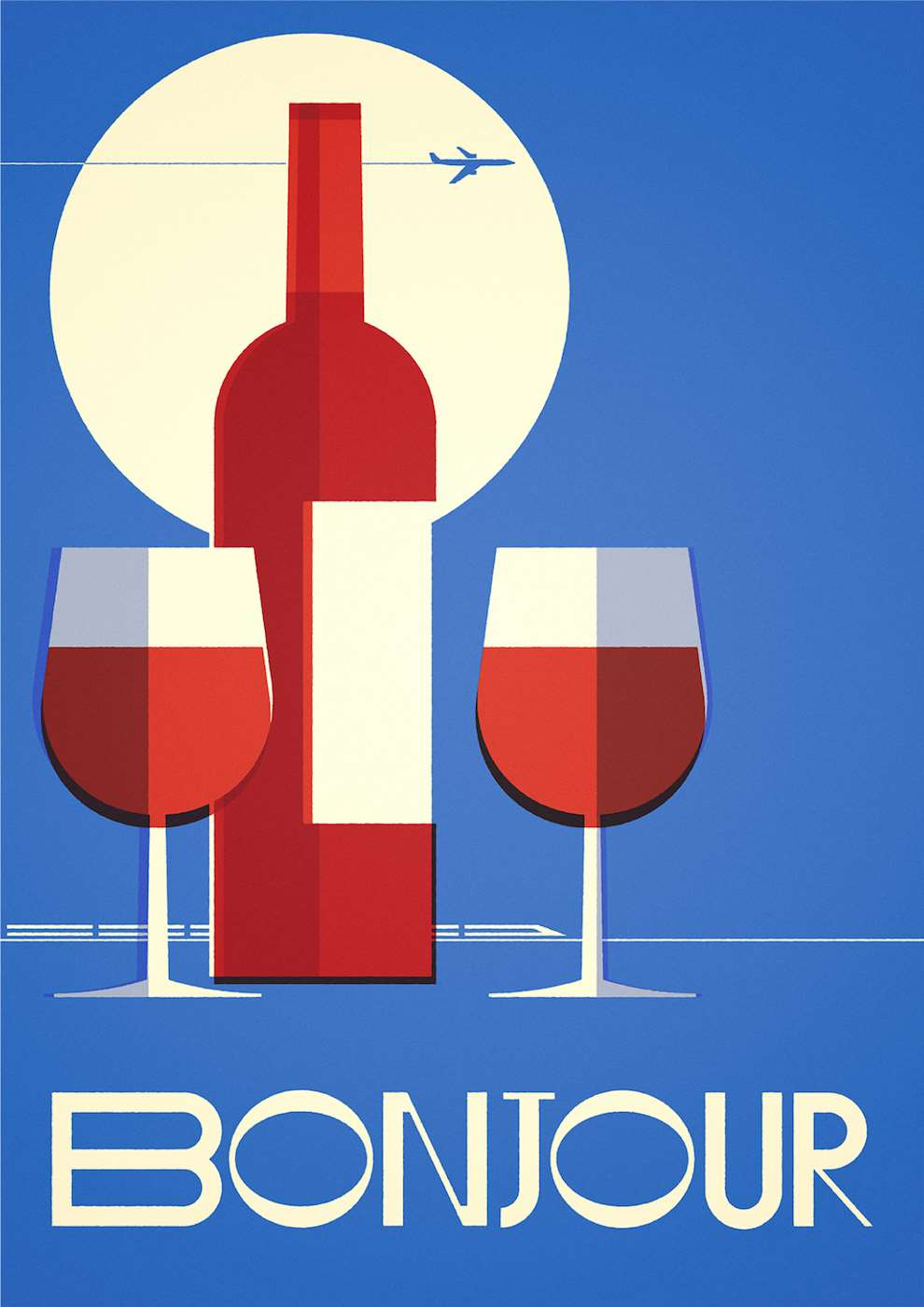 Stanley Chow, Bold and graphic minimalist poster of a wine bottle and the Eurostar representing France
