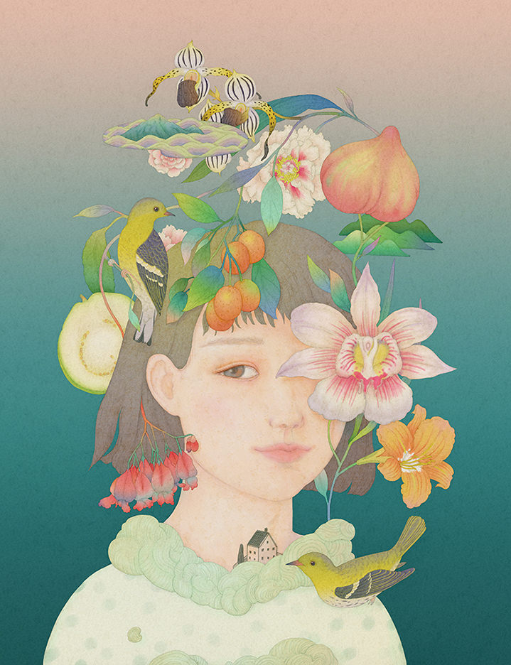 Whooli Chen, Watercolour handpainted portrait of a young girl in pastel tones. Botanical element across the illustration