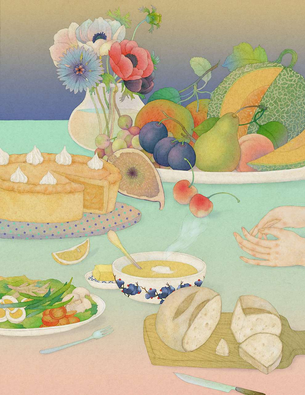 Whooli Chen, Delicate hand-painted illustration of a table with a plate of salad, a bowl of fruits, a soup and some bread. Beautiful pastel colors