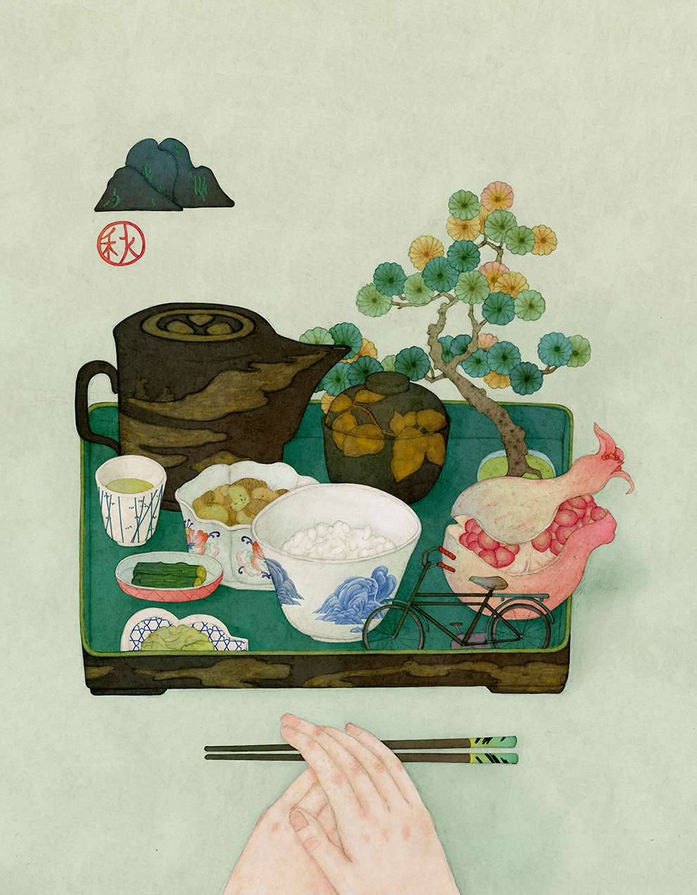 Whooli Chen, Hand painted illustration of a food tray with Japanese food and a banzai