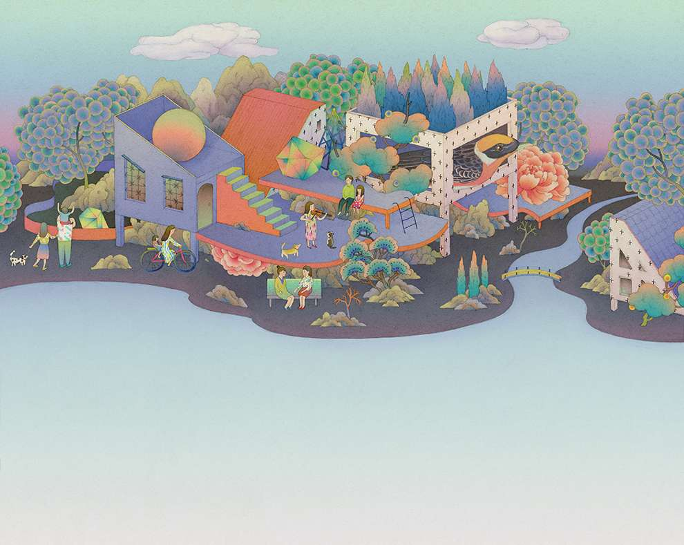 Whooli Chen, Delicate whimsical hand-painted illustration of a landscape with architectural element