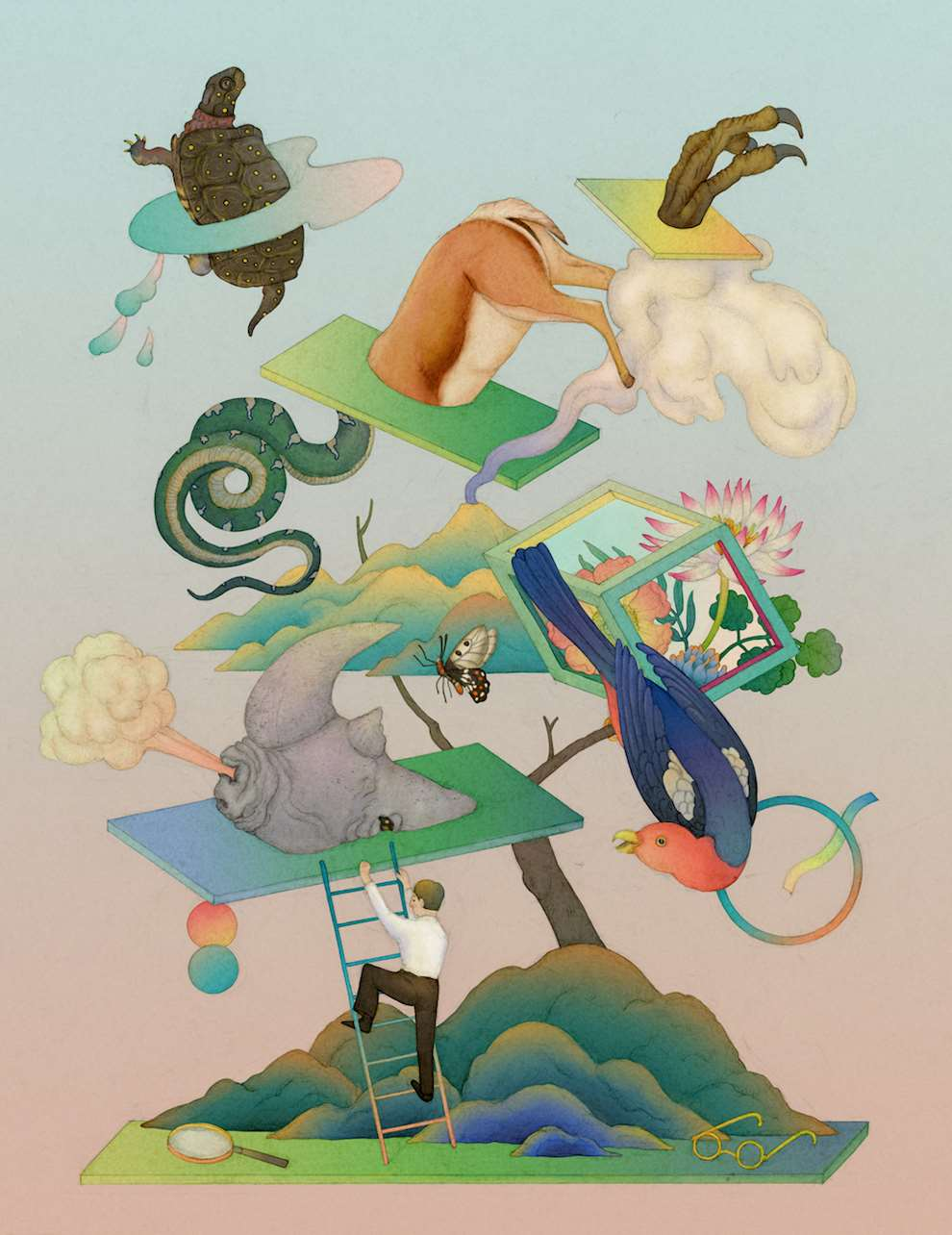 Whooli Chen, Mesmerizing conceptual watercolour illustration of animals floating