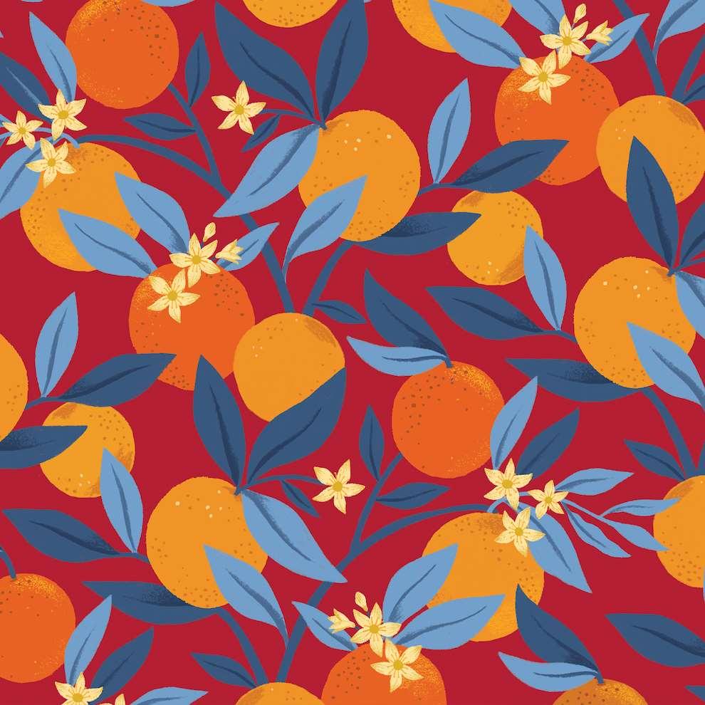Tatiana Boyko, Tatiana Boyko textural botanical digital illustration  of oranges for Carluccios packaging.