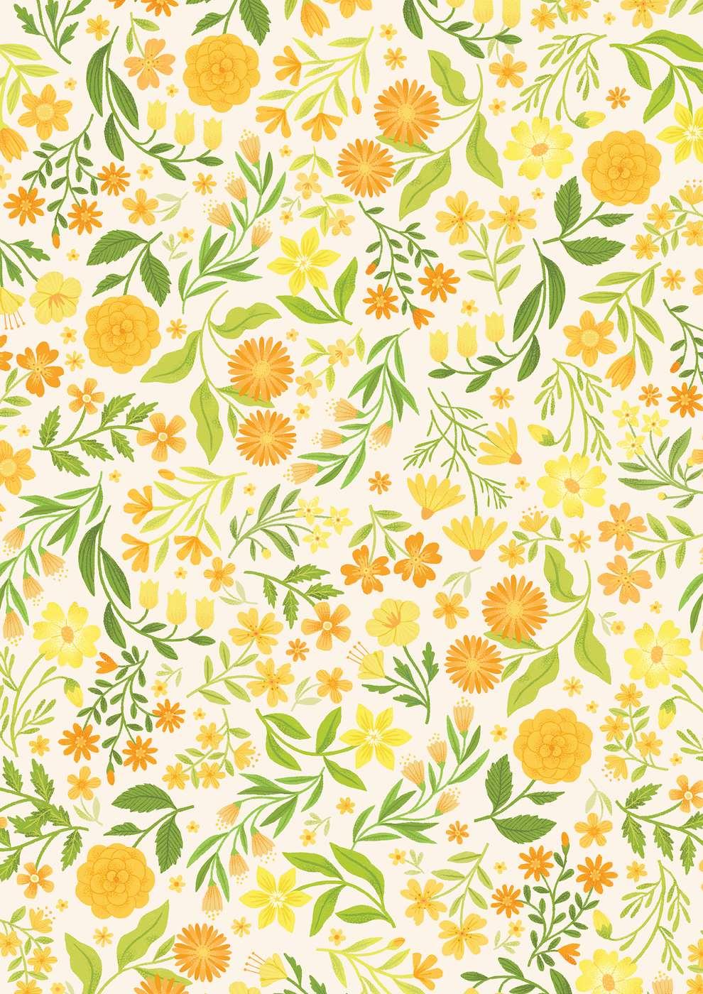 Tatiana Boyko, Handpainted yellow botanical pattern illustration for packaging.