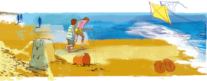 Kate Miller, Hand sketch illustration using collage and digital layers. Painterly scenery of children playing a the beach, a kite and sandcastle.