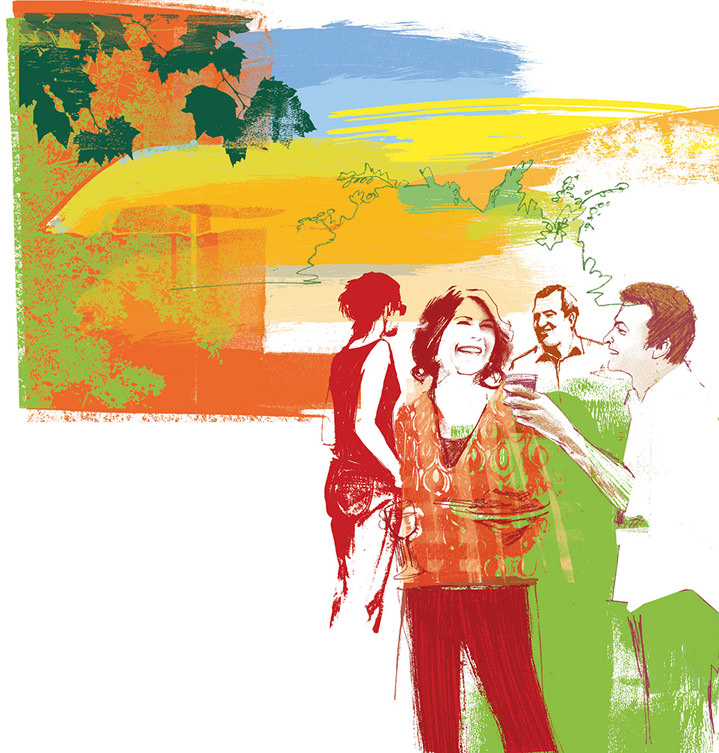 Kate Miller, Hand sketch illustration using collage and digital layers. Painterly bold scene of a group of people drinking wine.