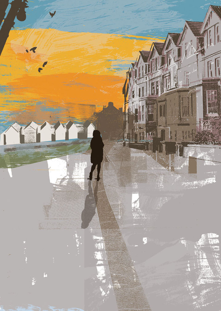 Kate Miller, Hand sketch illustration using collage and digital layers. Painterly scenery of a person on the street with a row of houses. mix of landscape and cityscape