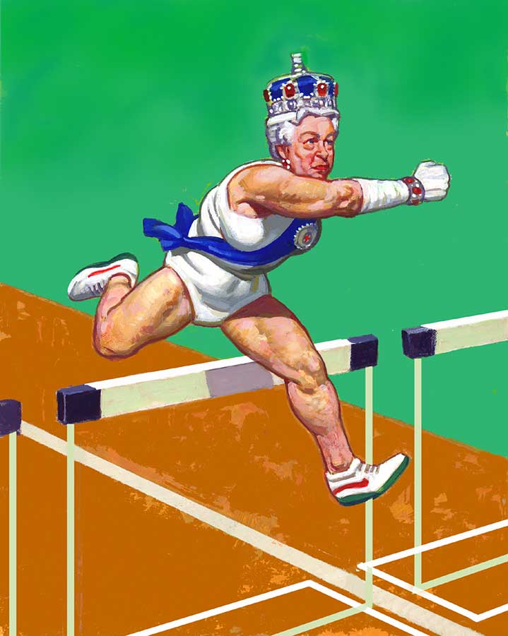 Paul Slater, Surreal vintage hand painted portrait of the queen running the olympic