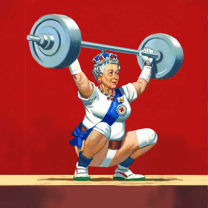 Paul Slater, Surreal vintage hand painted portrait of the queen lifting weights