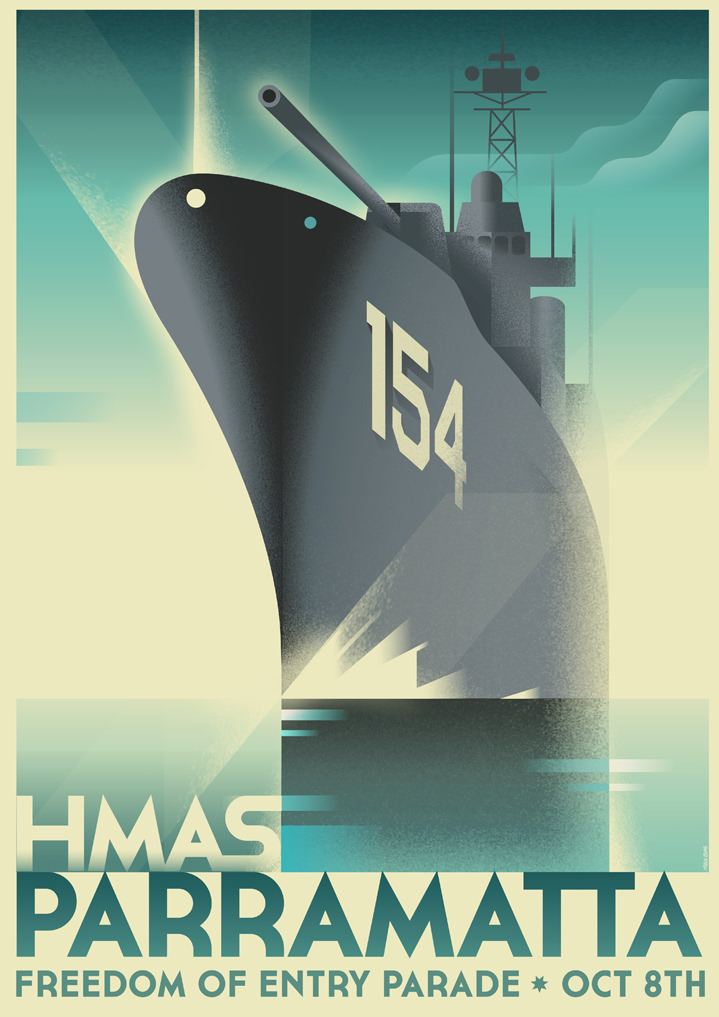 Mads Berg, Vintage Travel poster illustration. Bold and vector boat