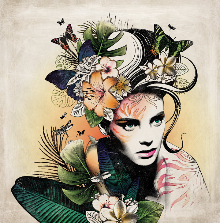 Susan Burghart, Collage illustration of a women with botanical elements growing out her head