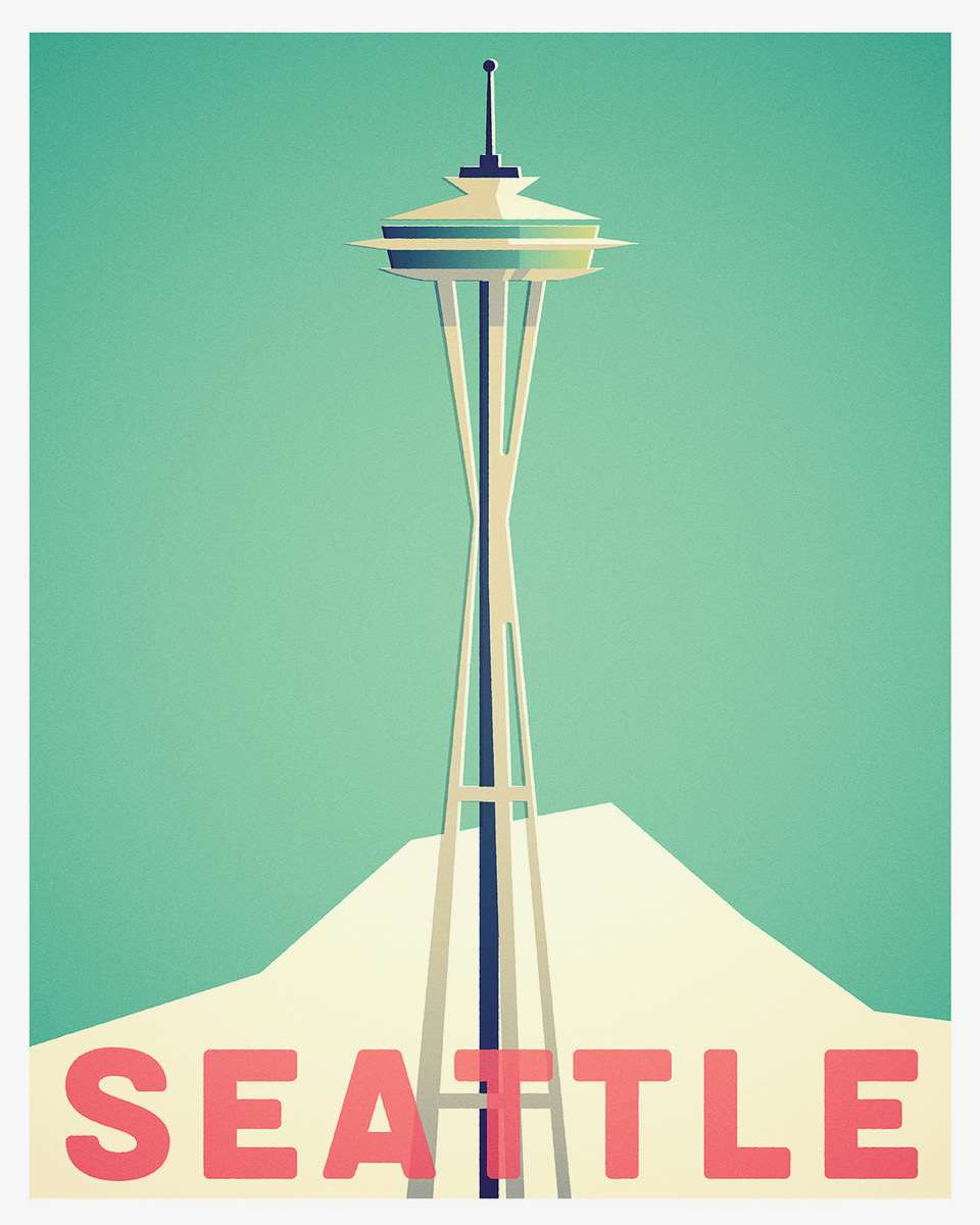 Stanley Chow, Bold and graphic minimalist travel poster of Seattle.