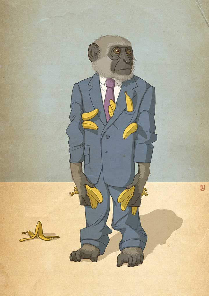 Richard Wilkinson, Illustration by Richard Wilkinson of a monkey wearing a suit and holding bananas