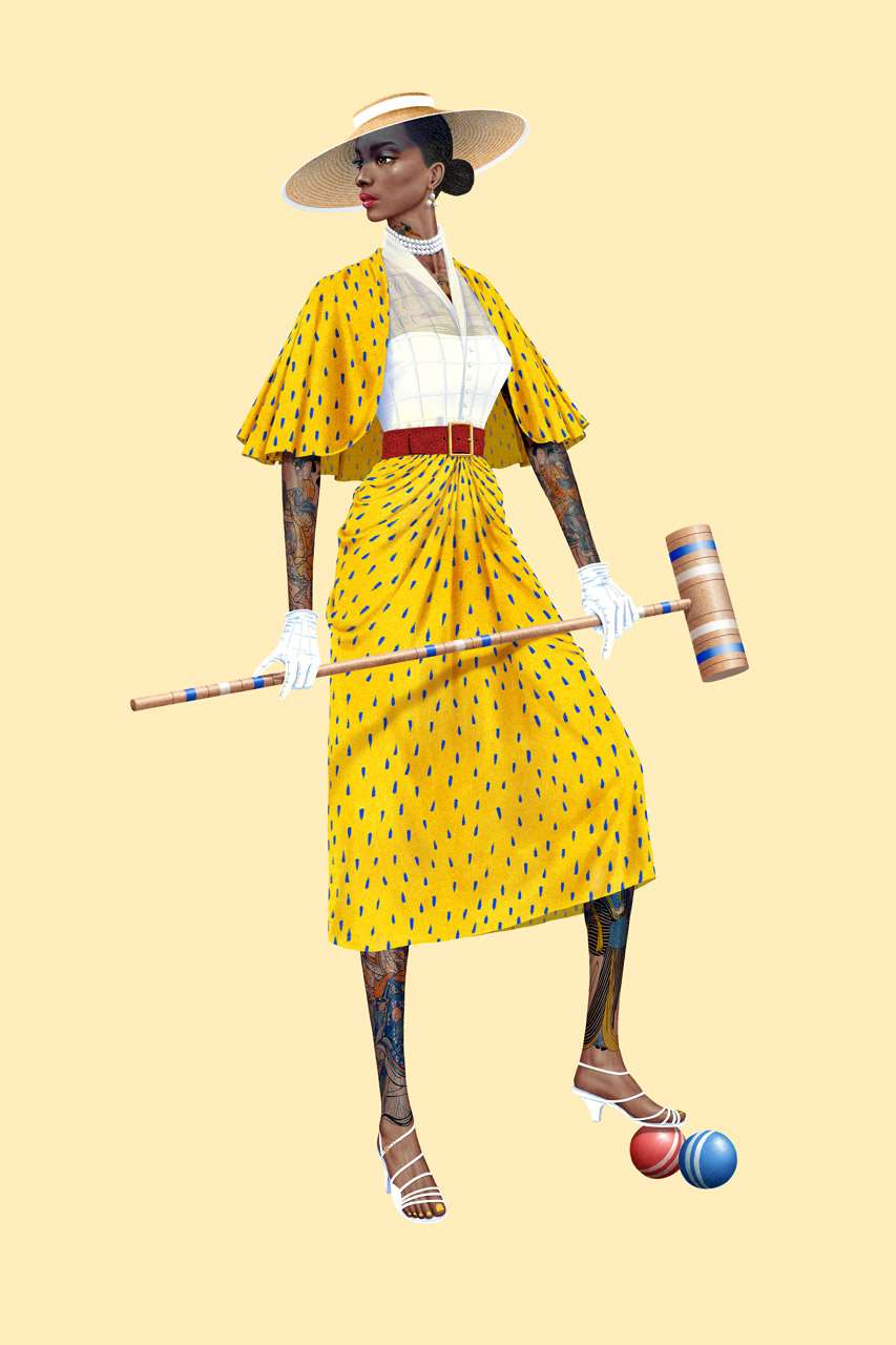 Jason Raish, Limited edition illustrated prints to fund the FIT Black student illustrators award in collaboration with Dandy Wellington. Tattooed, elegant, croquet players dynamic.