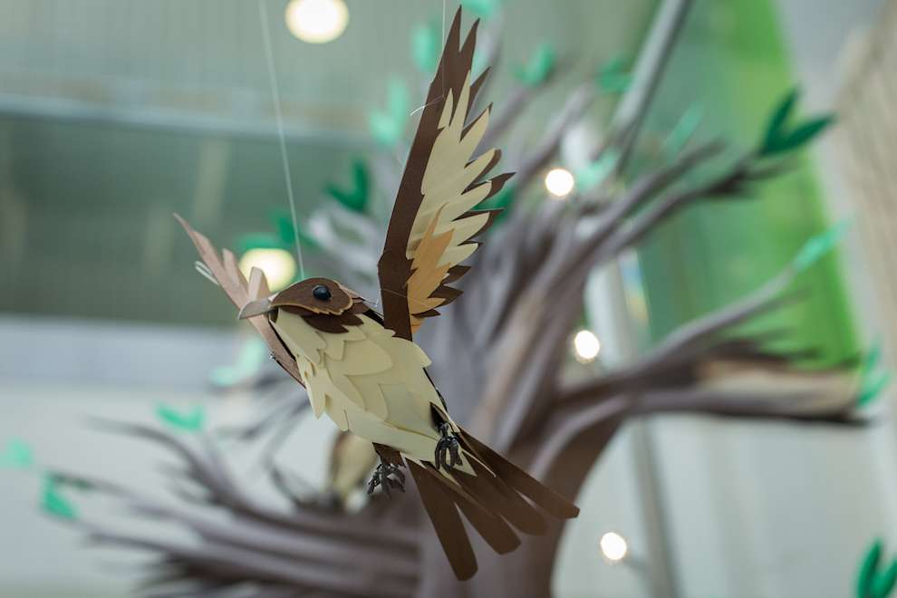 Andy Singleton, Paper Craft bird for a window display