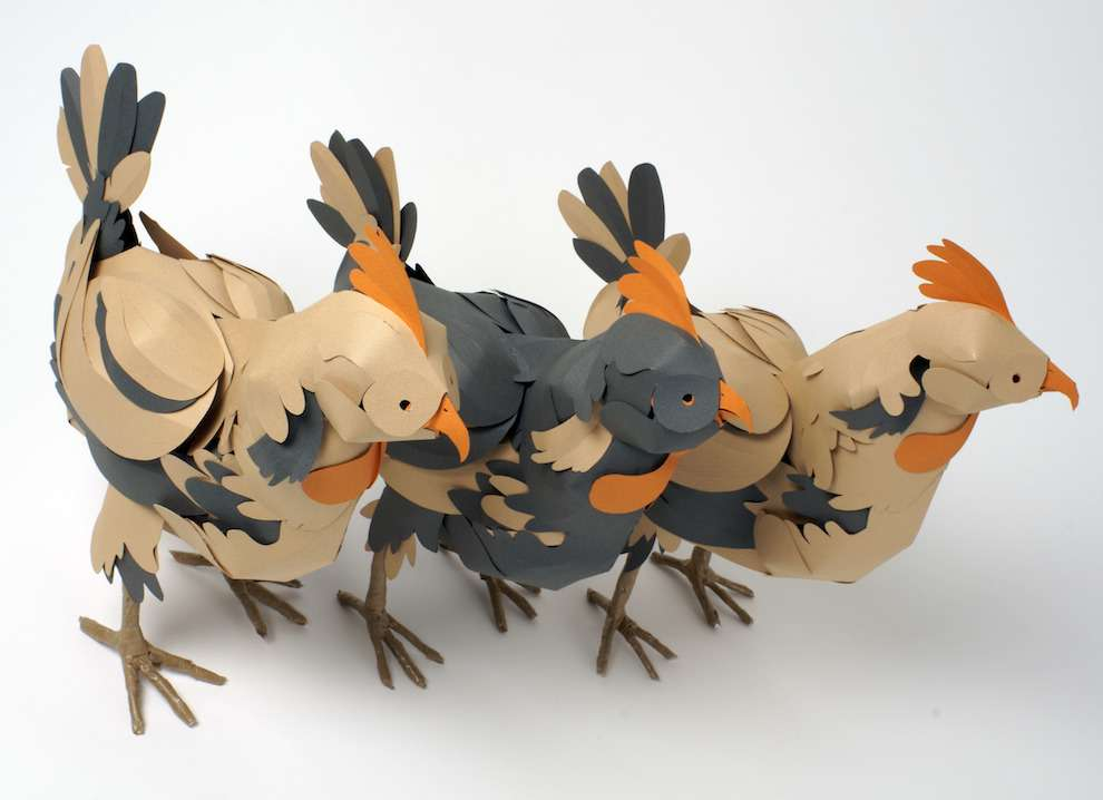 Andy Singleton, paper sculpture of chickens