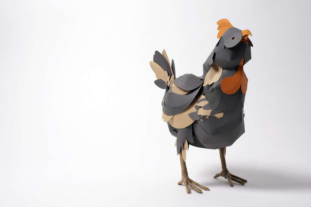 Andy Singleton, paper sculpture of a chicken