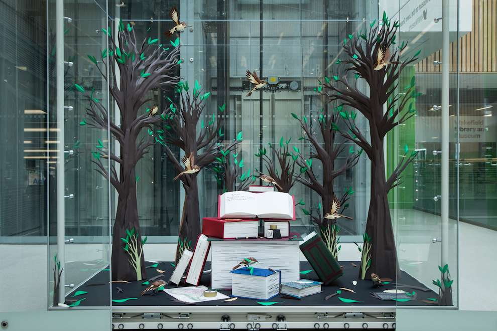 Andy Singleton, Paper Craft elements for a window display with birds, trees and books