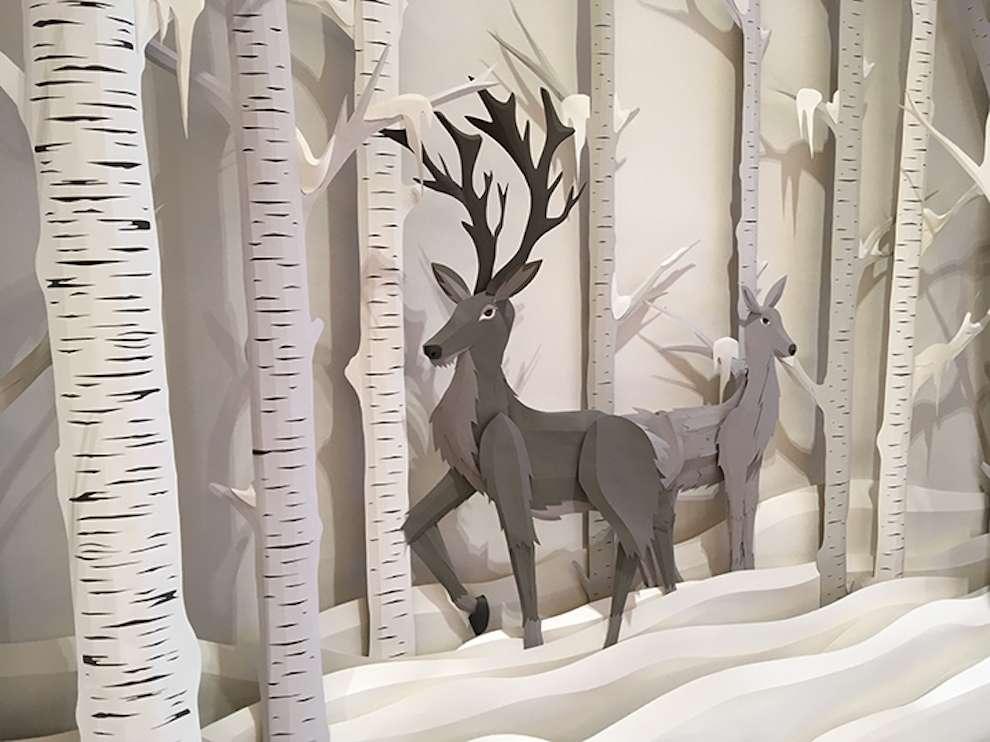 Andy Singleton, Winter paper craft window display of renders in a snowy wood
