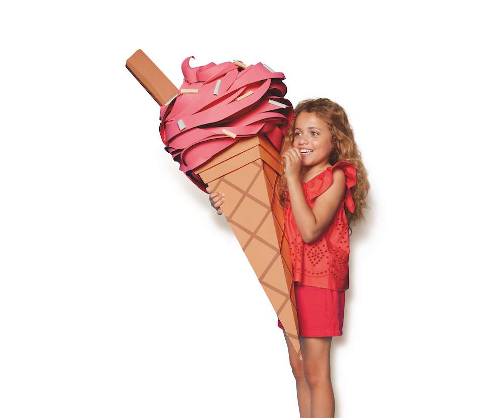 Andy Singleton, Little girl holding a paper sculpture of an ice cream